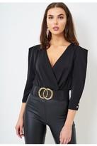 Love Frontrow Wrap Effect Long Sleeve Bodysuit In Black