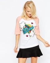 Love Moschino Embroidered Rainbow Baseball T-Shirt