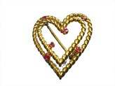 Tiffany & Co. 18K Yellow Gold Wire Ruby Double Heart Pin