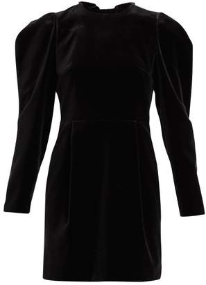 Valentino Bow And Crystal-embellished Velvet Mini Dress - Womens - Black
