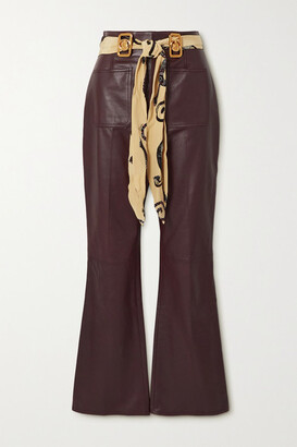 Lanvin - Belted Leather Flared Pants - Brown