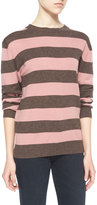 AG Jeans Striped Wales Pullover Sweater, Clover Pink/Chocolate