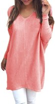 Ninimour Womens V-Neck Casual Loose Fit Pullover Sweater M
