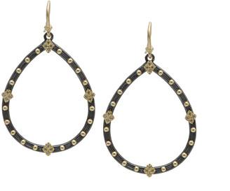 Armenta Old World Champagne Diamond Open Pear Earrings