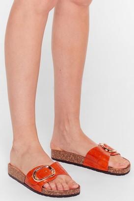 Nasty Gal Womens Let's Croc Faux Leather Buckle Sliders - Orange