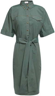 Brunello Cucinelli Bead-embellished Cotton And Silk-blend Shirt Dress
