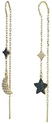 Swarovski Duo Moon Pierced Earrings (Teal) Earring
