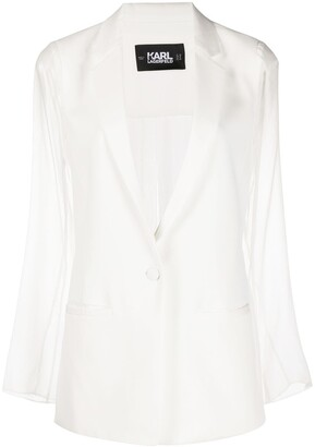 Karl Lagerfeld Paris Sheer Sleeved Blazer