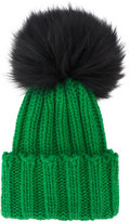 Inverni Green Wide Ribbed Cashmere Hat with Fur Pom Pom