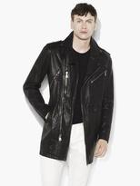John Varvatos Leather Biker Coat