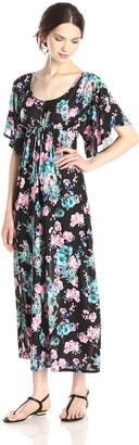Star Vixen Women's Plus-Size Angel Sleeve Drawstring Maxi Dress