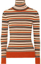JoosTricot - Striped Metallic Knitted Turtleneck Sweater - Orange