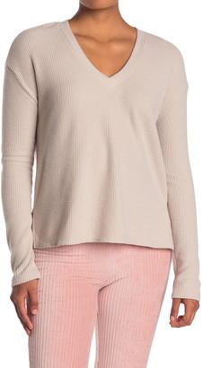 Double Zero V-Neck Drop Shoulder Long Sleeve Pullover