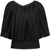 Halston Leather-Trimmed Pleated Voile And Stretch-Jersey Top