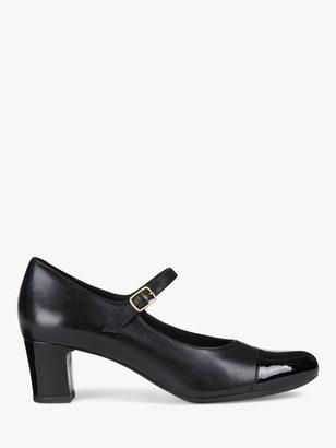 Geox Women's Umbretta Leather Heeled Mary Jane Shoes, Black