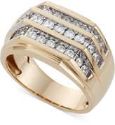 Macy's Men's Three Row Diamond Ring (1 ct. t.w.) in 10K Gold