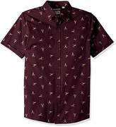 Haggar Men's Short Sleeve Micrographic Prints Woven Shirt,