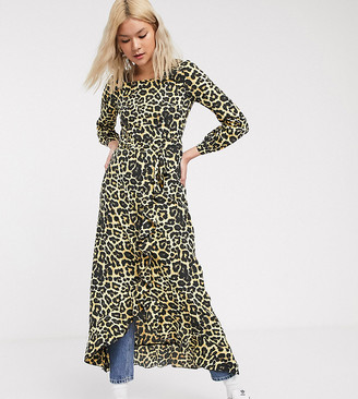 Verona maxi dress with ruffle detail skirt in leopard