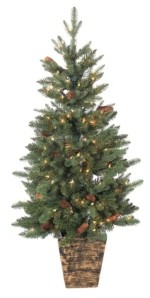 Sterling 4Ft. Hard Mixed Needle Potted Natural Cut Riverton Pine with Pine Cones and Berries and 150 Clear Lights