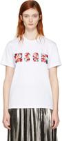 MSGM White Sequin Logo T-shirt