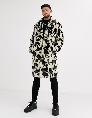 Urban Code Urbancode faux fur snow leopard overcoat-White
