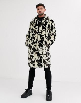 Urban Code Urbancode faux fur snow leopard overcoat