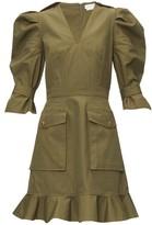 Alexander McQueen Puff-sleeve Cotton-canvas Mini Dress - Womens - Khaki