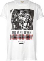 River Island Womens White girl print boyfriend T-shirt