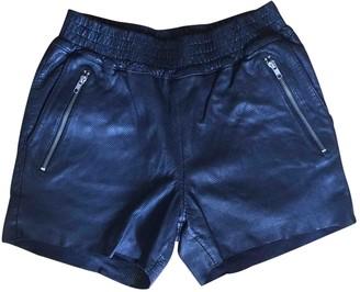 OAK Black Leather Shorts for Women