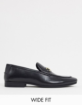 Silver Street wide fit leather metal trim loafers in black