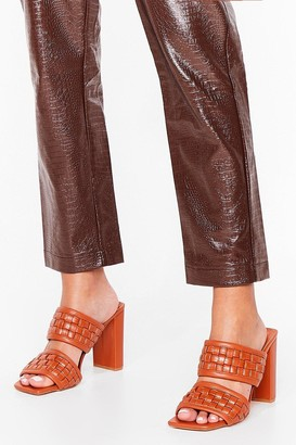 Nasty Gal Womens The Woven Moment Faux Leather Heeled Mules - Brown - 5, Brown