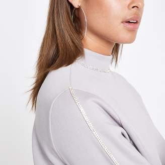 River Island Womens Grey diamante trim sweatshirt