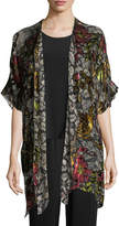 Caroline Rose Double Printed Devore Caftan Cardigan, Plus Size