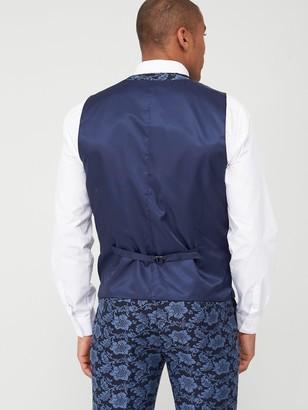 Skopes Standard Morrissey Floral Jacquard Weave Waistcoat - Navy