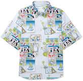 Prada Button-Down Collar Printed Cotton-Poplin Shirt