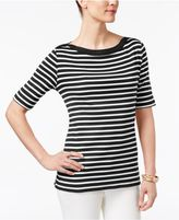 Karen Scott Striped Elbow-Sleeve Top, Created for Macy's
