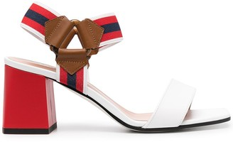 Pollini Two-Tone Leather Sandals
