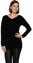 H by Halston Silk-Cashmere Blend Long Sleeve V-Neck Pullover Tunic
