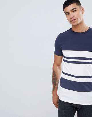Asos Design DESIGN muscle fit t-shirt with thick stripe-Navy