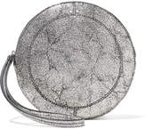 Jerome Dreyfuss Popoche O Metallic Cracked-leather Clutch - Silver