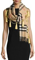 Burberry Cashmere Giant Check Tassel Scarf, Camel