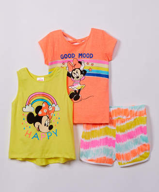 H.I.S. International Girls' Active Shorts - Coral Minnie Mouse 'Good Mood' Cap-Sleeve Top Set - Girls
