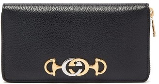 Gucci Zumi Logo-plaque Grained-leather Wallet - Womens - Black