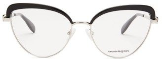 Alexander McQueen Cat-eye Acetate And Metal Glasses - Womens - Silver