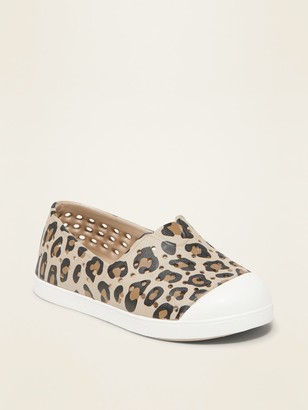Old Navy Perforated Leopard-Print Slip-On Sneakers for Toddler Girls