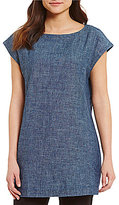 Eileen Fisher Bateau Neck Cap Sleeve Tunic