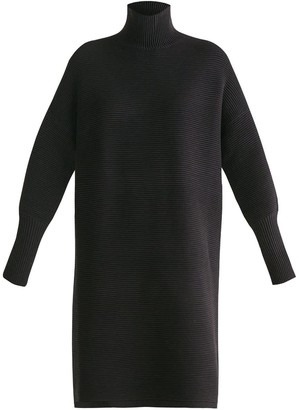Paisie Ribbed Polo Neck Jumper Dress In Black