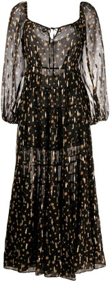 Rixo Star Print Puff Sleeves Dress