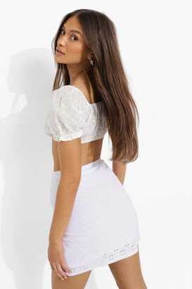 boohoo Broderie Jersey Wrap Mini Skirt