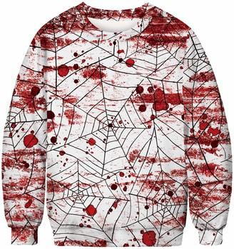 Chaos World Women's Sweatshirts 3D Realistic Print Halloween Crewneck Jumpers Pullover(Spiderweb XL)